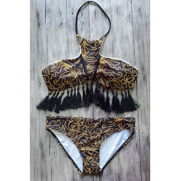 Sexy Tassel Design Brown Nylon Two-piece Swimwear