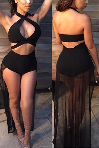 Lovely Nylon Solid Two-piece Swimwear