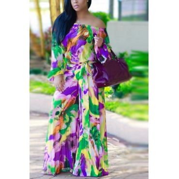 Polyester Print Loose Jumpsuits