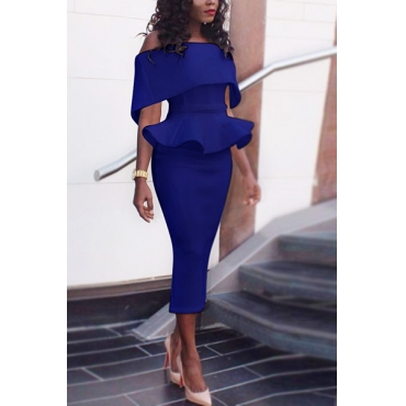 Healthy Fabric Fashion Bateau Neck Short Sleeve Sheath Mid Calf Dresses