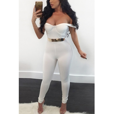 Sexy V Neck Short Sleeves White Qmilch One-piece Skinny Jumpsuits(Without Belt)