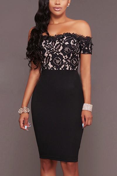 Charismatic Dew Shoulder Short Sleeves Patchwork Black Polyester+Spandex Sheath Knee Length Dress