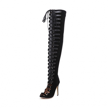 Elegante Round Peep Toe Lace-up Hollow-out Stiletto Super High Heel Negro Suede sobre las botas de rodilla