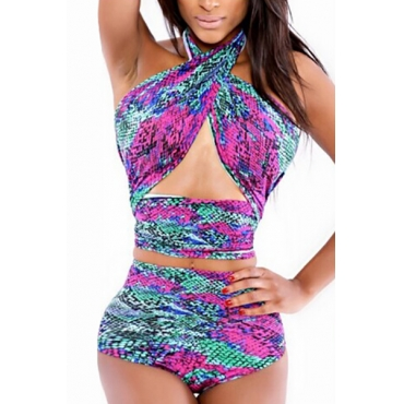 Sexy Bandage Backless Nylon Two-piece Swimwear