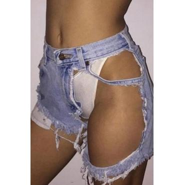 Sexy Mid Waist Broken Holes Blue Denim Shorts
