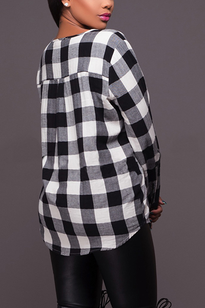 Pullovers Polyester V Neck Long Sleeve Plaid T-shirt
