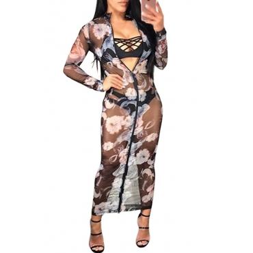 Gauze Sexy Mandarin Collar Long Sleeve Ankle Length Dresses