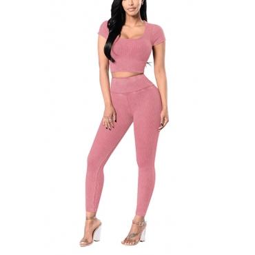 Casual U-shaped Neck Short Sleeves High Waist Pink Cotton Blend Two-piece Pants Set