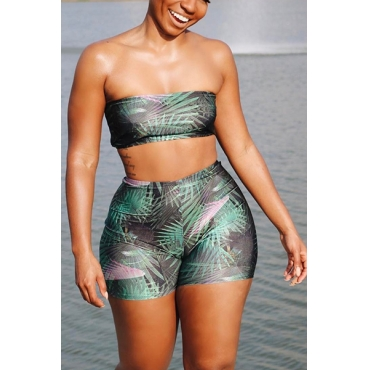 Sexy Printed Polyester Two-piece Swimwear