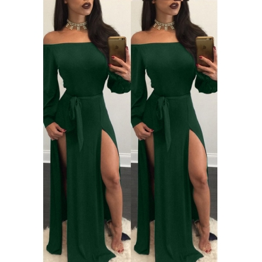 Charming Bateau Neck Long Sleeves High Split Green Qmilch Ankle Length Dress