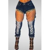 Trendy Mid Waist Broken Holes Metal Chain Decorative Cotton Pants
