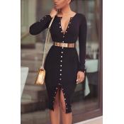 Knitting Fashion O neck Long Sleeve Knee Length Dr