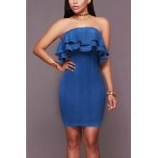 Denim Fashion Bateau Neck Short Sleeve Mini Dresse