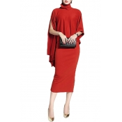 Cotton Fashion O neck Long Sleeve Mid Calf Dresses