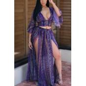 Sexy V Neck Half Sleeves Printed High SPlit Purple Chiffon Two-piece Skirt Set