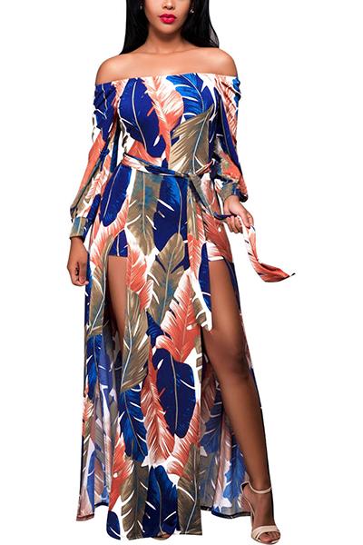 Qmilch Casual Bateau Neck Long Sleeve Ankle Length Dresses