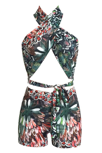 Multi Polyester Shorts Print V Neck Sleeveless Sexy Two Pieces