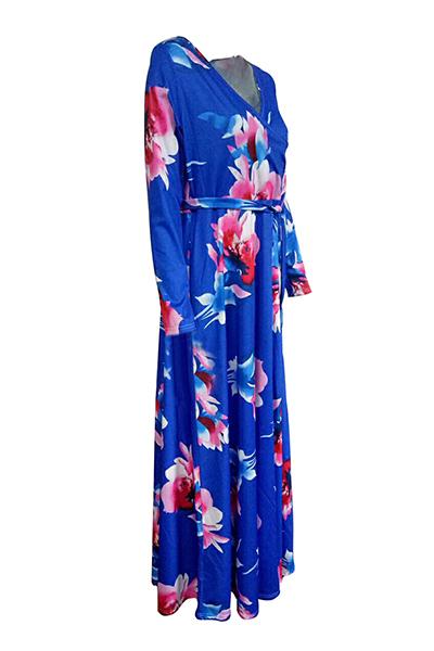 Moda cuello en V mangas de tres cuartos de flores de impresión púrpura azul té sano vestido de longitud de piso