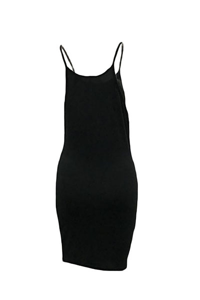 Casual Round Neck Spaghetti Strap Sleeveless Letters Printed Black Polyester Sheath Mini Dress