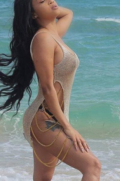 Casaco Em Forma De U Sexy E Oco Em Pó