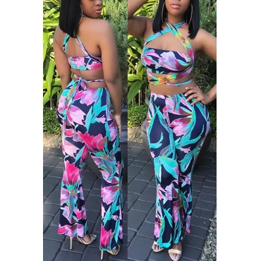 Sexy Bandage Printed Backless Qmilch Two-piece Pants Set