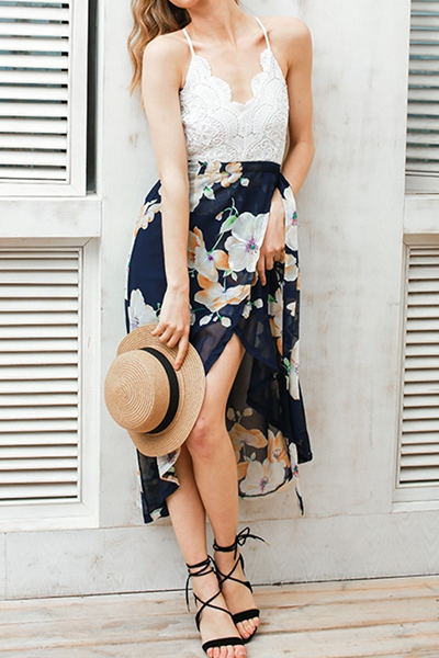 Chiffon Bohemian V Neck Spaghetti Strap Sleeveless Beach Ankle Length Dresses