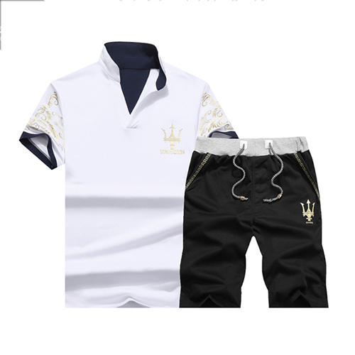 Pullovers Cotton Turndown Collar Print Men Clothes