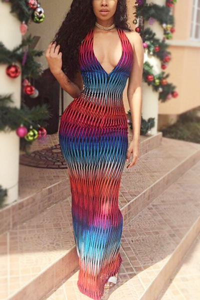Sexy V Neck Sleeveless  Digital Printing Milk Silk Fabric Floor Length Dress