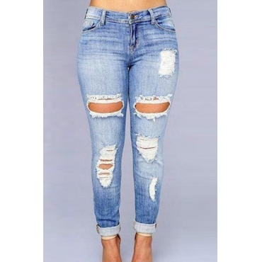 Euramerican High Waist Broken Holes Dark Blue Denim Jeans