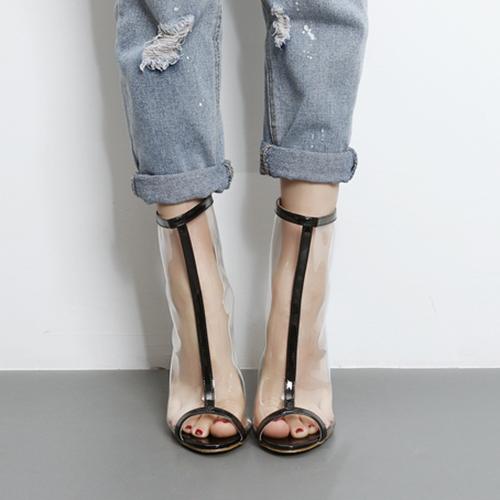Стильные Остроносые Туфли С Открытым Носком См.-Через стилет супер высокий каблук черный PU сандалии