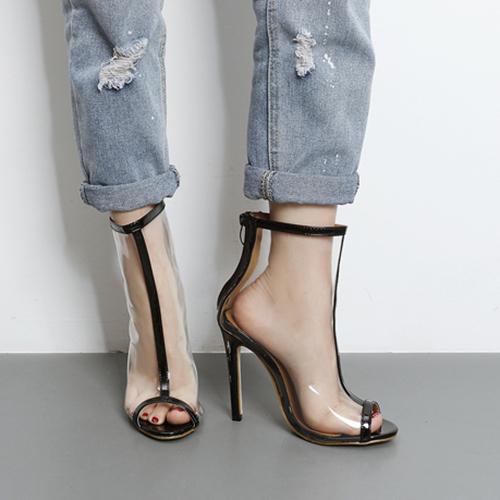 Elegante apontado Peep Toe See-Através de Stiletto Super High Heel Black PU Sandals