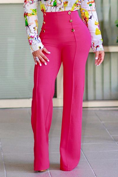 Elegante Cintura Alta Trespassado Design Subiu Calças De Poliéster Vermelho