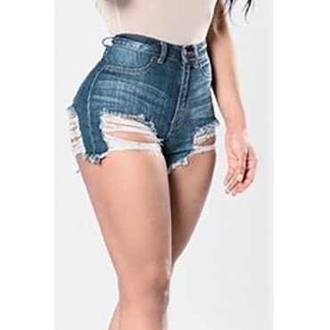 Sexy High Waist Hollow-out Dark Blue Denim Skinny Shorts