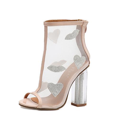 Модные носки Peep Toe See-Through Chunky Босоножки с высокой пяткой из абрикоса с высоким каблуком