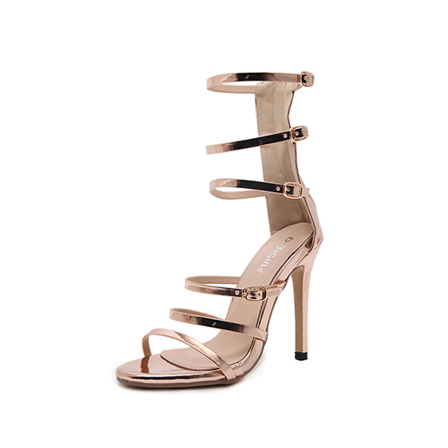 PU Stiletto super sandalias de alta moda de gladiador