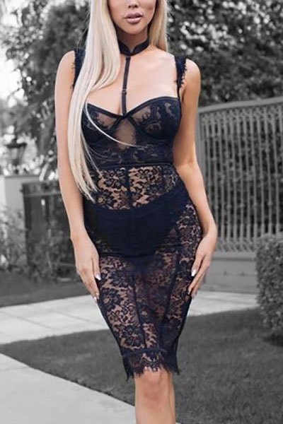 Sexy V Neck Sleeveless See-Through Black Lace Sheath Knee Length Dress