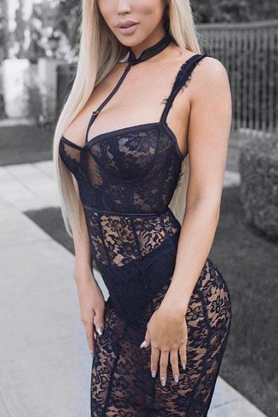 Сексуальное V Шеи Без Рукавов Прозрачное Черное Платье