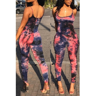 Charming Square Neck Printed Cotton Blends One-piece Jumpsuits