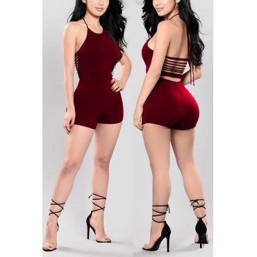 Sexy cuello redondo Backless vino rojo Qmilch una sola pieza Skinny Jumpsuits