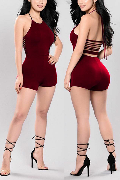 Sexy Round Neck Backless Wine Red Qmilch One-piece Skinny Jumpsuits