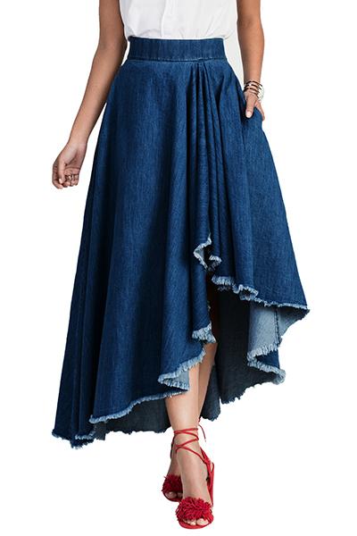 Stylish Elastic Waist Asymmetrical Blue Denim Ankle Length Skirts