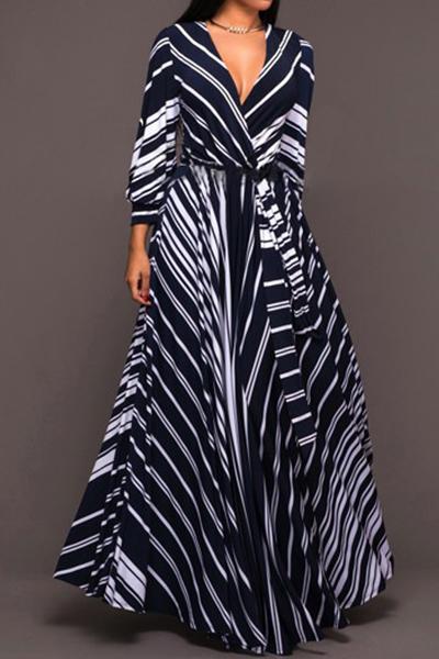 Стильное V-образным вырезом длинные рукава Полосатые молока платье длиной до пола волокна
