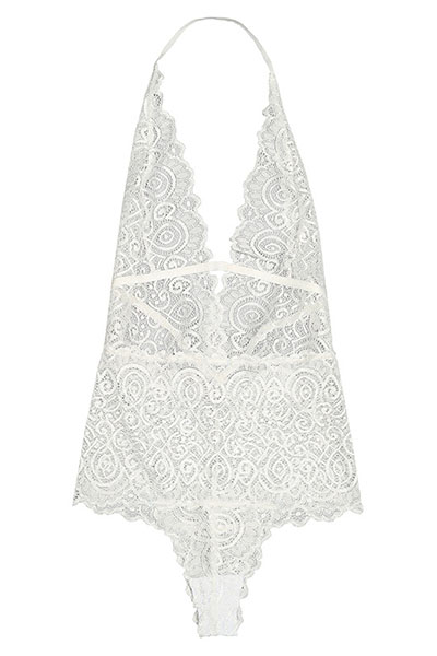 Sexy Deep V cuello blanco Backless White Encaje-piece Monos flacos