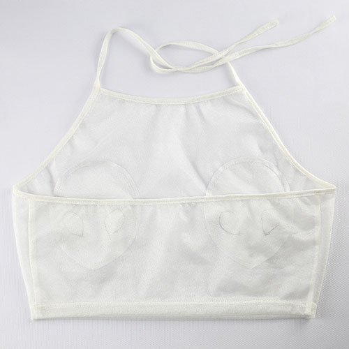 Camisola de alças branca acrílica transparente
