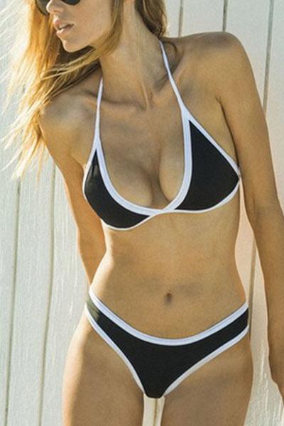 Euramerican Black-white Patchwork Cotton Blends Two-piece Swimwear