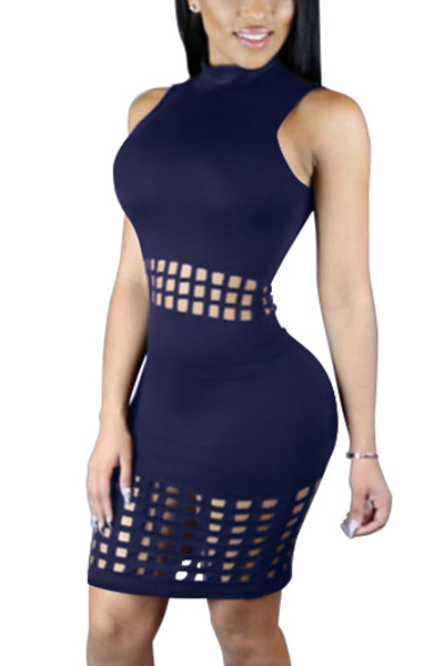 Stylish Mandarin Collar Tank Sleeveless Hollow-out Royalblue Polyester Sheath Knee Length Dress