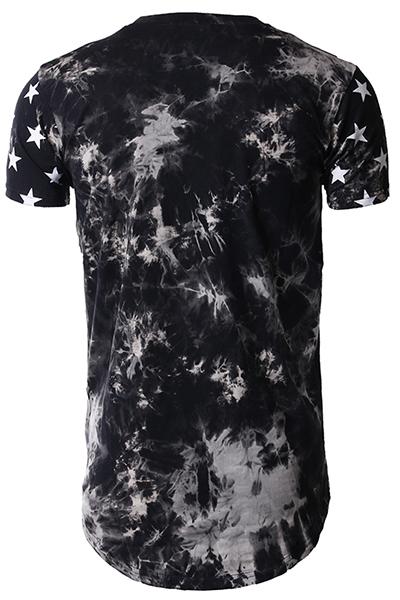 Ocio cuello redondo mangas cortas de cinco puntas de impresión de la estrella gris-blanco mezcla de algodón T-shirt