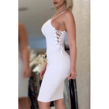 Sexy Spaghetti Strap Hollow-out blanco de fibra de vaina rodilla vestido de longitud