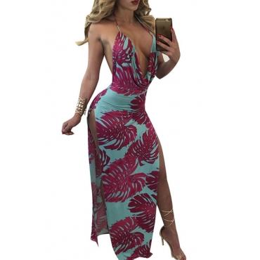 Sexy V Neck Sleeveless Backless Purple-blue Milk Fiber Sheath Ankle Length Dress