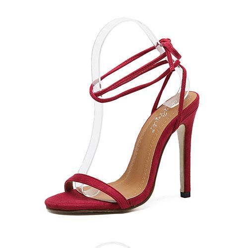Moda Pointe Toe Lace-up Saco de salto alto Super High Heel Red Suede Sandálias de tornozelo
